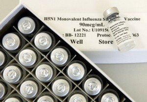 Vials of experimental flu vaccine is seen during a clinical trial to test its effectiveness to combat avian influenza. Photo: AFP