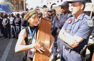 Representatives of environmental organisations staged a protest at Sandton Square in Johannesburg after walking out of the World Summit on Sustainable Development's plenary session in September 2002. PHOTO: AFP/MARCO LONGARI