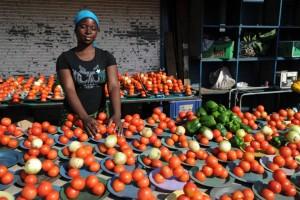 A vendor sells vegetables at the Alexandra township, near Johannesburg, in 2010. Photo: AFP/Monirul Bhuiyan