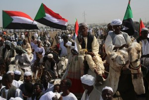 Supporters of Sudanese President Omar al-Bashir gather for a campaign rally in Sudan's east-central al-Jazirah state. Photo: AFP/Ashraf Shazly