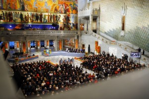 General view from the Nobel Peace Prize Ceremony in Oslo's City Hall on 10 December 2007, in which the laureates, the Intergovernment Panel on Climate Change, represented by the chairman, Rajendra K. Pachauri, and former US vice president Al Gore, were awarded the 2007 Nobel Peace Prize. Photo: AFP/Heiko Junge/SCANPIX NORWAY