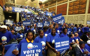 Supporters of South Africa's main opposition Democratic Alliance (DA) at the launch of the party's 2009 election campaign. Photo: AFP
