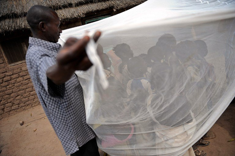 South Sudanese children are educated on the use of a long-lasting insecticide-treated net in Wau in April 2009. Photo: AFP/TONY KARUMBA