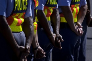 Members of the South African Police Service, and other emergency services, take part in the National Launch of the State of Readyness For FIFA World Cup. Photo: AFP/Rodger Bosch