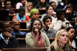 South African students from the University of Cape Town listen to Western Cape premier Helen Zille during a meeting at the university in May 2011. Photo: AFP/GIANLUIGI GUERCIA