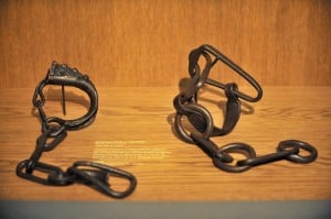 Shackles are displayed in a room devoted to slave trading at the Nantes History Museum. Photo: AFP/Frank Perry