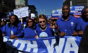 Democratic Alliance (DA) party leader, Helen Zille, marches to the headquarters of the Congress of South African Trade Unions in Johannesburg. Photo: AFP/Alexander Joe