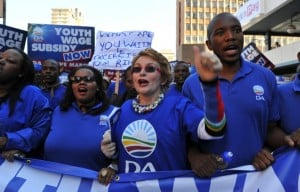 A file photograph of South Africa's Democratic Alliance leader Helen Zille leading a protest march in Johannesburg. Photo: AFP/Alexander Joe