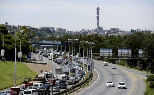 In 2012 the labour federation Cosatu organised a slow drive protest against the introduction of tolls on major highways in Gauteng. Photo: AFP/Stephane de Sakutin
