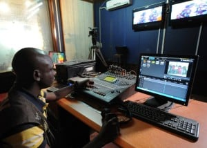 An editor at work in a television studio in the Central African Republic capital of Bangui. Photo: AFP/Sia Kambou