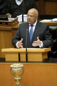 Former South African Minister of Finance Pravin Gordhan delivering the 2014 Budget speech in Parliament. Photo: AFP/Rodger Bosch