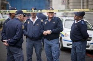 A file picture of South African police officers outside the Western Cape High Court.  Photo: AFP/Rodger Bosch
