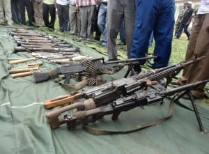 A cache of weapons captured after five days of heavy fighting between the Burundi army and rebels in the north-western part of the country in January 2015. Photo: AFP/Esdras Ndikumana