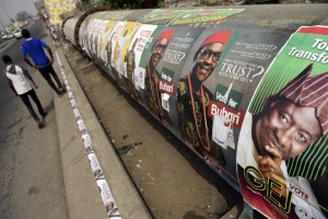 Election posters along a highway in Lagos, Nigeria. Photo: AFP/Pius Utomi Ekpei