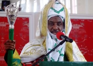 The emir of Kano, Muhammadu Sanusi II, speaks at his coronation as the 57th emir of the ancient Kano emirate in February 2015. Photo: AFP/AMINU ABUBAKAR