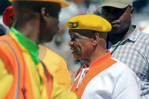 Lesotho's Prime Minister Tom Thabane at an election rally in the kingdom's capital Maseru. Photo: AFP/Hlompho Letsielo
