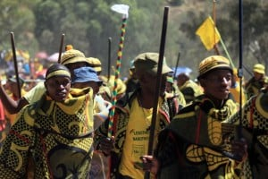 Supporters of Lesotho's All Basotho Convention (ABC)  during the party's last campaign rally ahead of the elections. Photo: AFP/Hlompho Letsielo