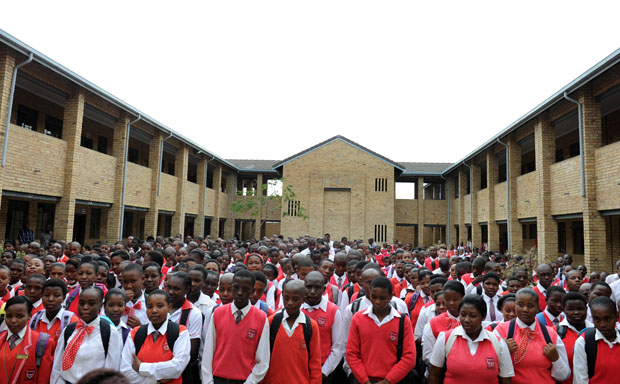 Children line up on the first of school in January 2014. Photo: GCIS/Sibongile Ngalwa