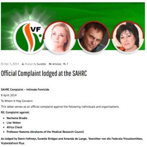 A snapshot of the SAHRC complaint as it appears on suzette Bridges' website