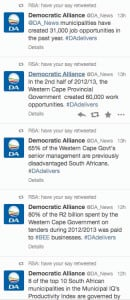 A screen grab of some of the claims made on Twitter by the Democratic Alliance.