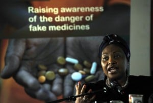 """South African singer Yvonne Chaka Chaka, speaking in Nairobi in 2012 at an event campaigning against unverified and fake drugs. """"People must be educated, people do not know these fake drugs are dangerous and can kill them,"""" she said. Photo: AFP/Tony Karumba"""