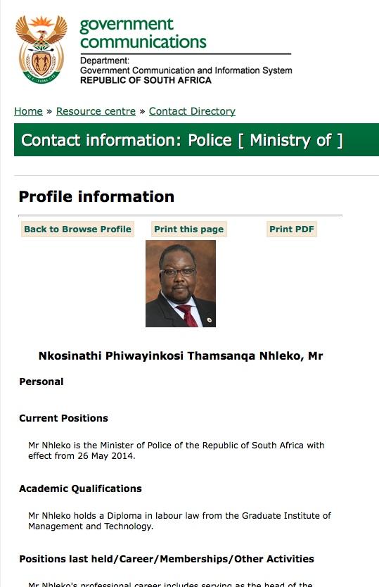 South Africa's minister of Police Nathi Nhleko. Photo: GCIS