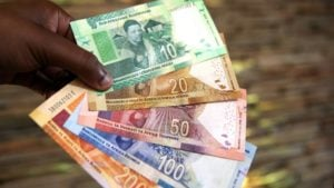 Commemorative banknotes launched by the South African Reserve Bank are seen in this July 2018 picture. They were in celebration of the centenary of former President Nelson Mandela's birth. Photo: AFP/PHILL MAGAKOE