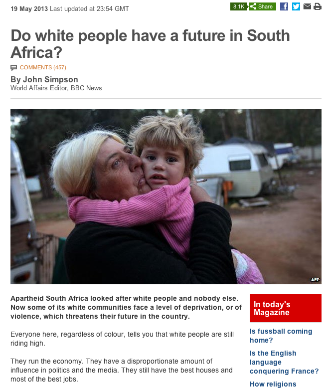 Do white people have a future in South Africa? John Simpson's controversial BBC report.