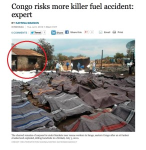 This image, posted on the Reuters news agency website, reports on a horrific petrol tanker accident in the DRC that killed at least 230 people. Note the circled window and corrugated iron roof which matches with the supposed Boko Haram massacre photo.