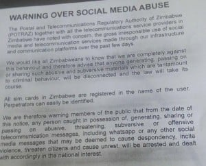 This image was widely shared on social media, but it is unclear whether it is really from the Post and Telecommunications Authority of Zimbabwe.
