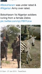 """A screengrab of a tweet from 27 January 2015  claiming to show """"Nigerian soldiers"""" running from a zebra."""