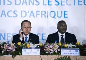 Le patron de l'ONU Ban Ki-moon et le président de la RD Congo Joseph Kabila, lors d'une rencontre internationale, en février 2016, à Kinshasa. Photo AFP