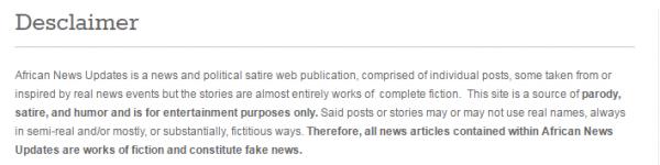 """African News Updates """"desclaimer"""""""