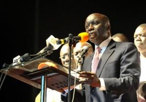 Idrissa Seck, ancien maire de Thiès, en janvier 2012, lors de son investiture à l'élection présidentielle qui s'est tenue un mois plus tard. Photo AFP
