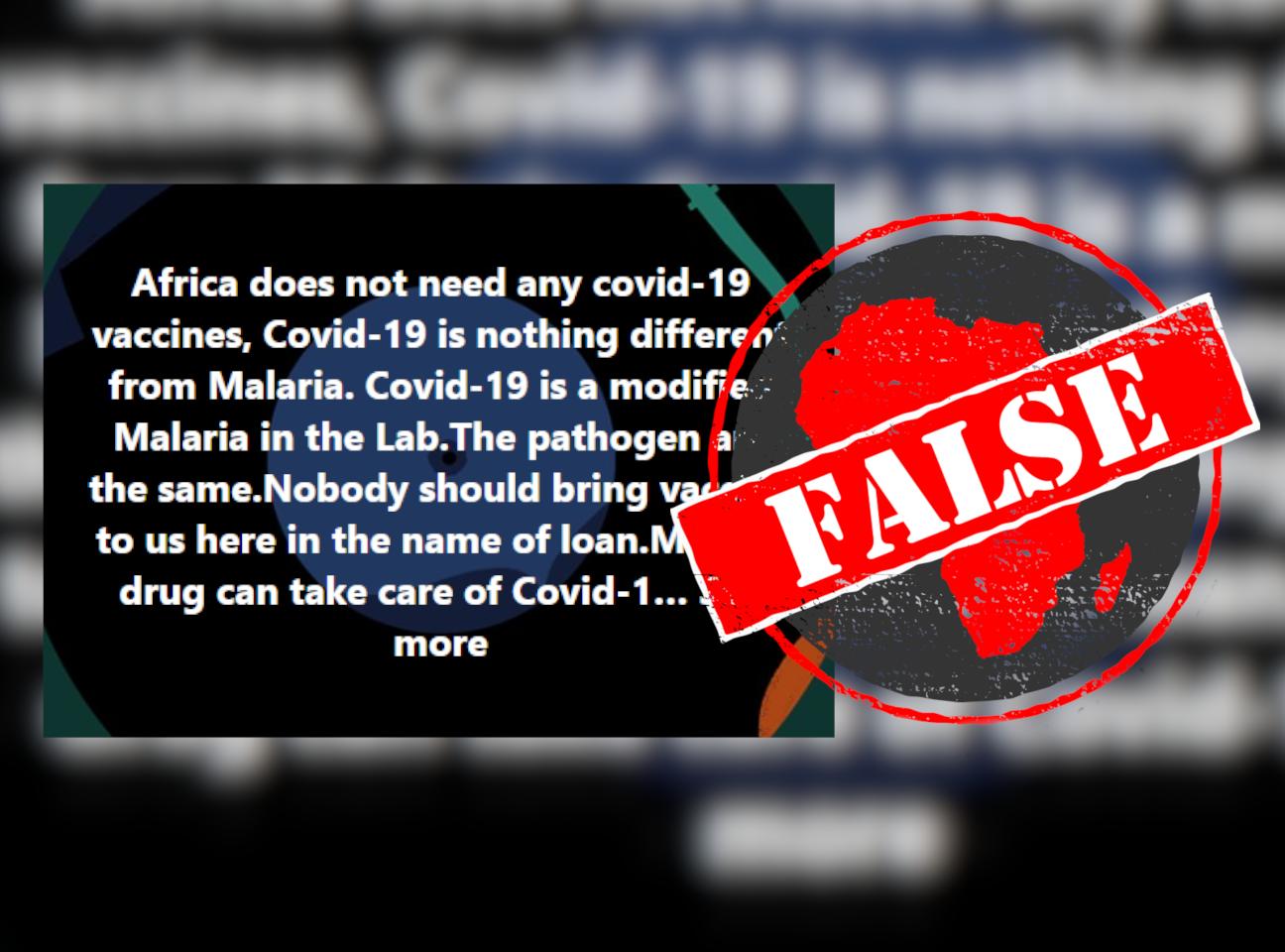 Covid-19 not malaria