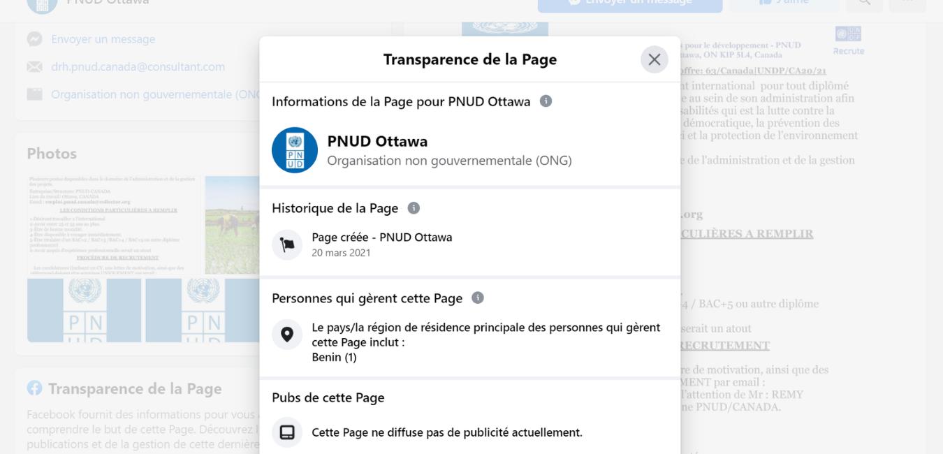 Capture d'écran de la publication