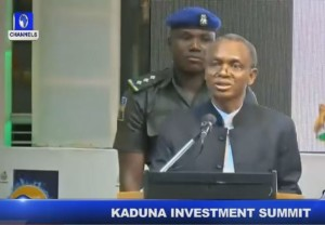 Governor Nasir Ahmad El-Rufai speaking at the Kaduna Economic & Investment Summit in April 2016.