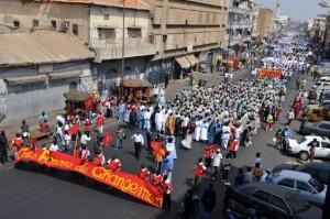 Un défilé de 1er mai de la Confédération nationale des travailleurs du Sénégal/Forces du changement (CNTS/FC), une des principales centrales du pays, dans les rues de Dakar. Photo AFP