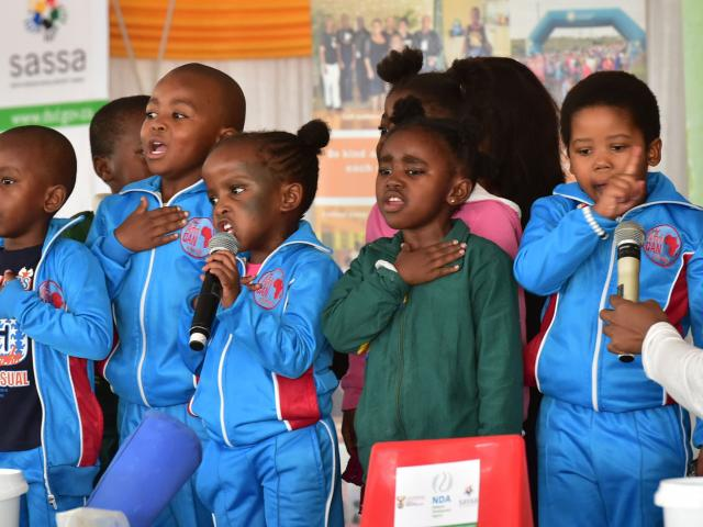 Children sing at the launch of Child Protection Week 2017 in Langa, Cape Town. Photo: Kopano Tlape/GCIS