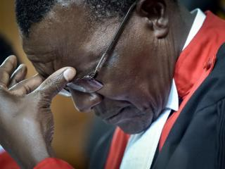 Kenya's chief justice David Maraga reacts at The Supreme Court in Nairobi in December 2017 ahead of a ruling on the poll victory of President Uhuru Kenyatta. Photo: AFP/SIMON MAINA
