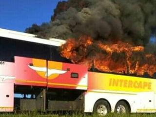 This picture of a burning bus was from a technical fault in Malawi, not retaliatory attacks on South African buses in Zambia.